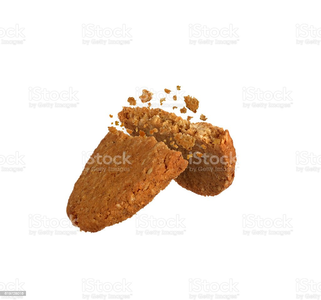 chocolate chip cookie pieces stock photo