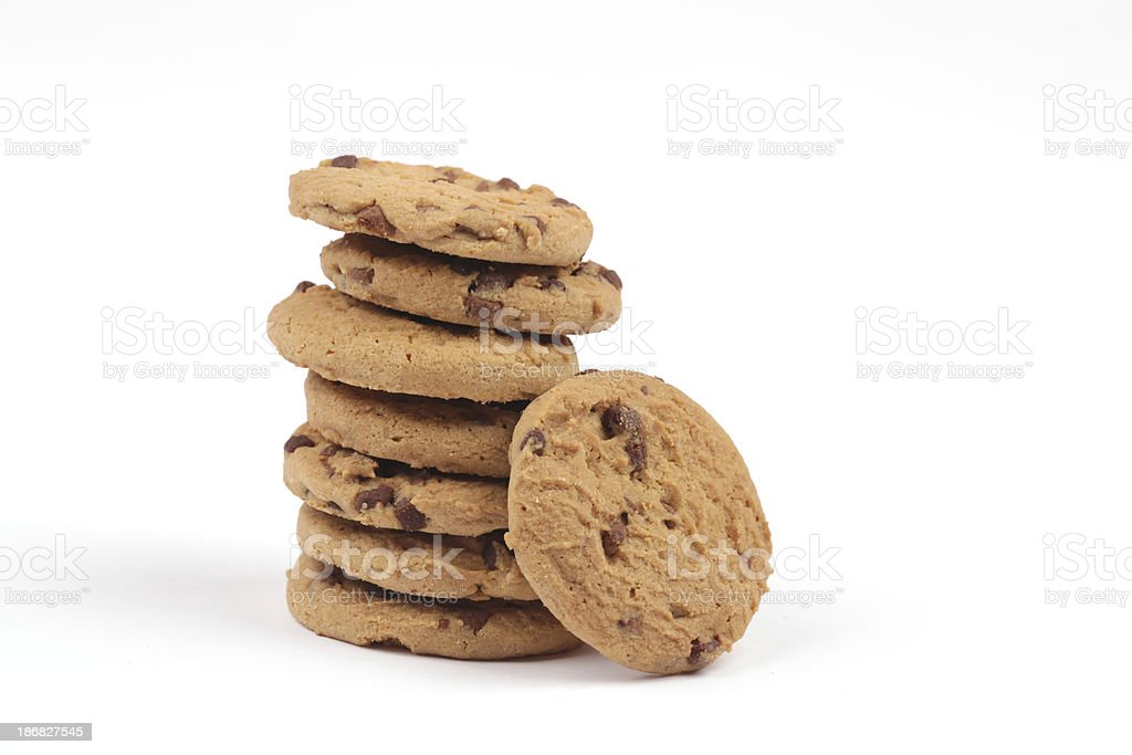 Chocolate chip cookie tower royalty-free stock photo