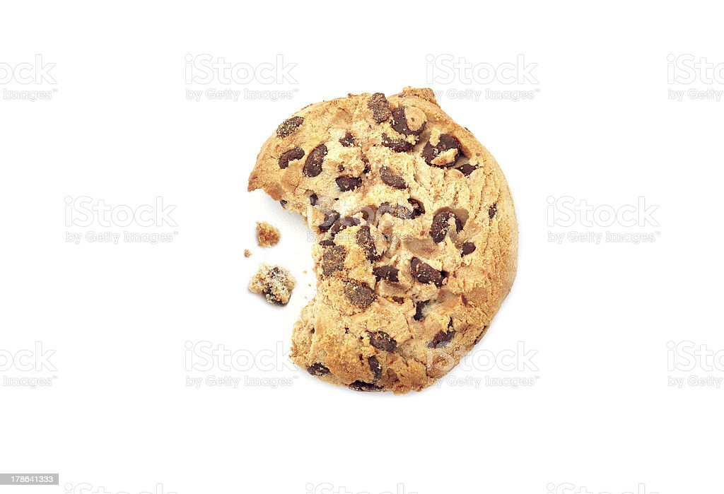 Chocolate chip cookie with a bite stock photo