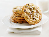 Chocolate chip cookies on a white background, shot from above with copy space