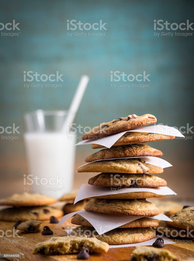 Chocolate Chip Cookies and Milk stock photo