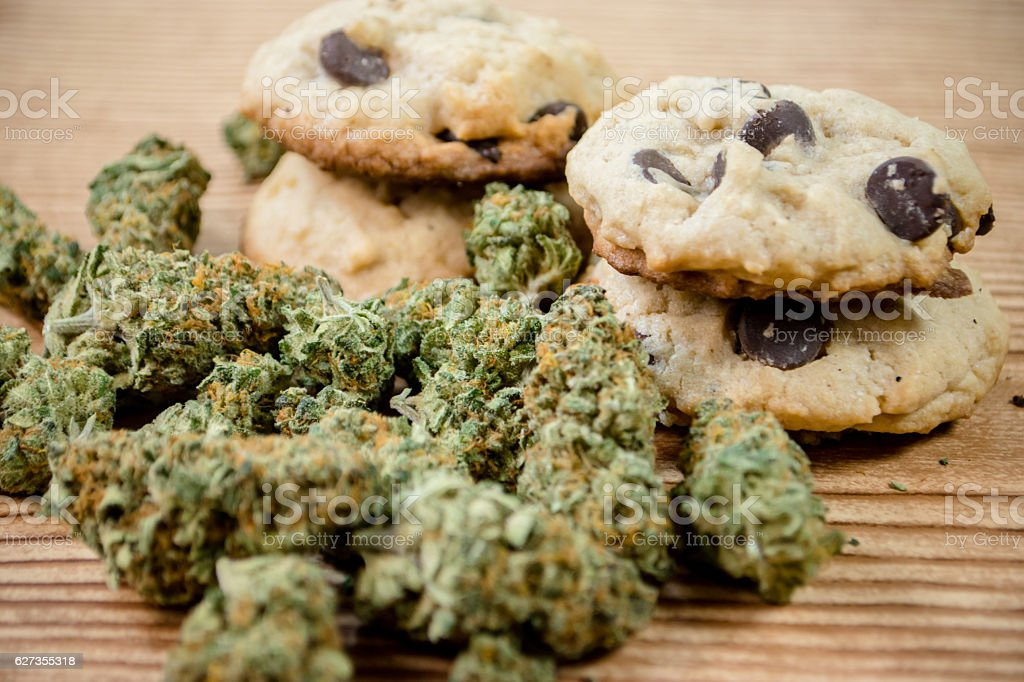 Chocolate chip cookies and pot royalty-free stock photo