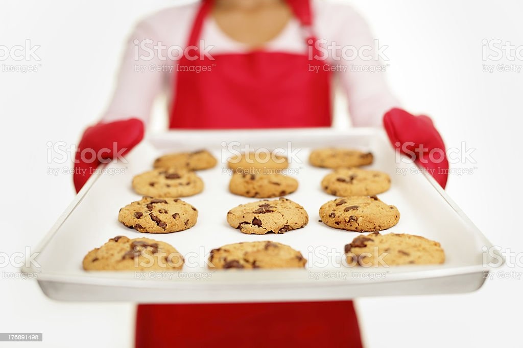 chocolate chip cookies - baking woman royalty-free stock photo