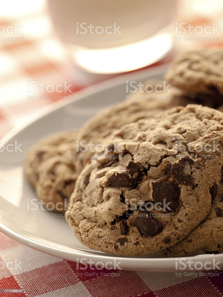 Chocolate chip cookies for breakfast stock photo