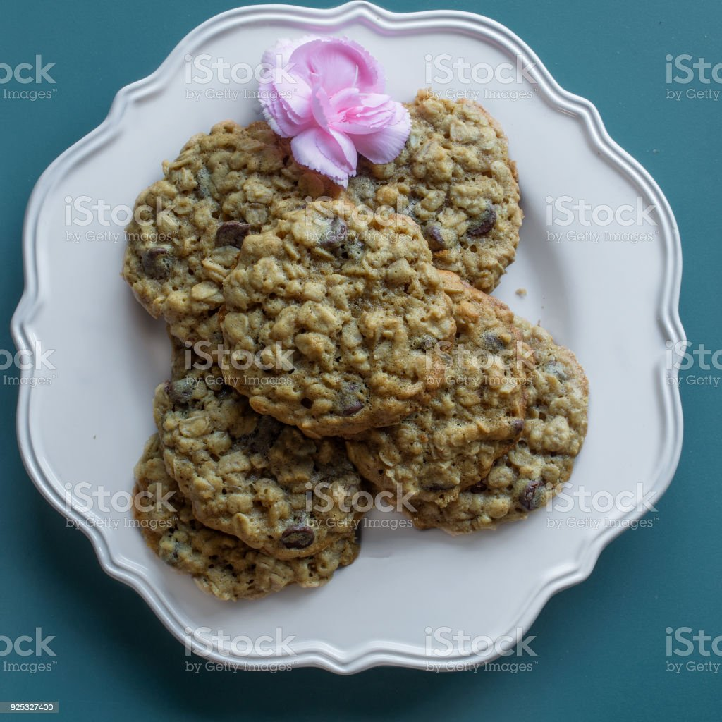 Chocolate Chip Cookies For Mother On Blue Background Top View Stock 7400n Royalty Free Photo