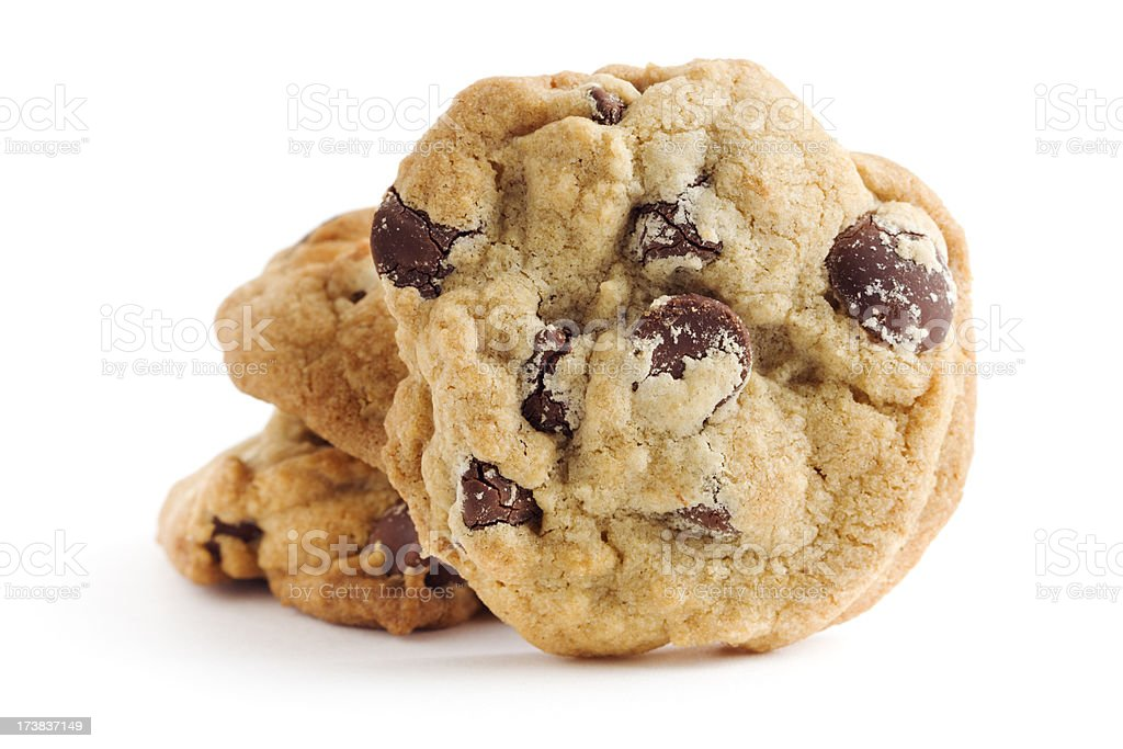Chocolate Chip Cookies, Fresh Baked and Homemade on White stock photo