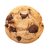 Chocolate chip cookies isolated on white background with clipping path, Homemad cookies close up.