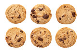 Chocolate chip cookies isolated on white background with clipping path, Homemade cookies close up.