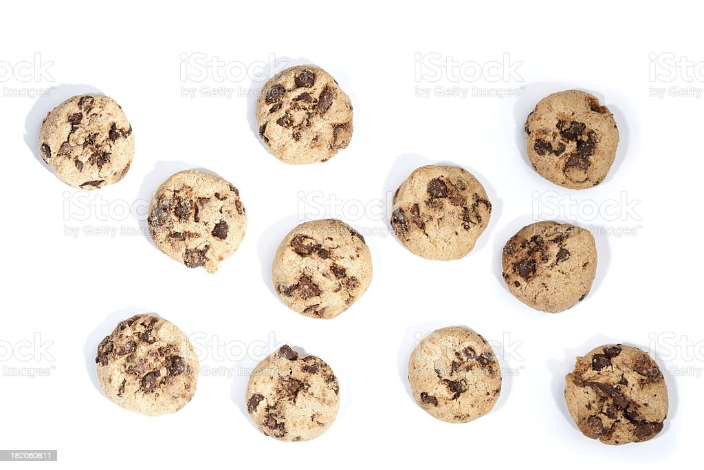 Chocolate chip cookies, isolated on white royalty-free stock photo