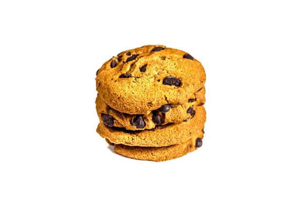 chocolate chip cookies, isoliert auf weiss - low carb kekse stock-fotos und bilder