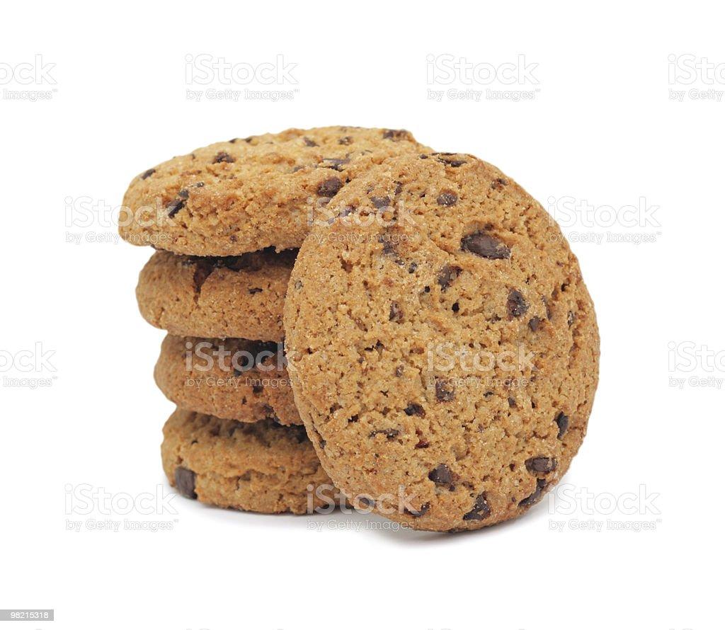 Biscotti con scaglie di cioccolato, isolato foto stock royalty-free