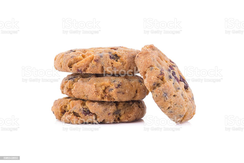 Chocolate chip cookies on white background royalty-free stock photo