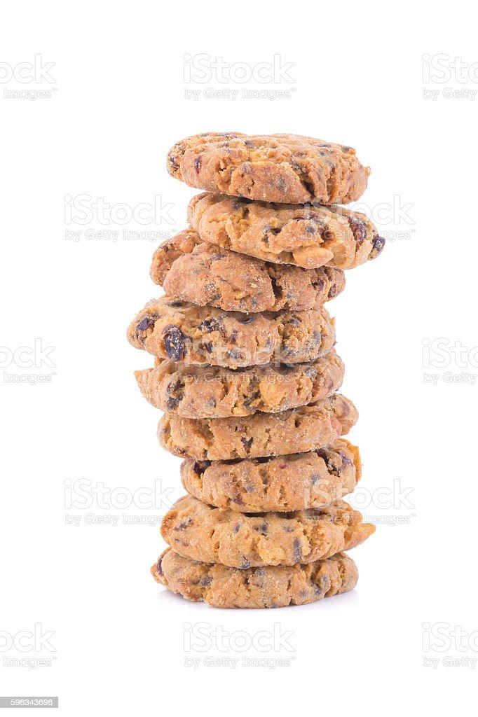Chocolate chip cookies auf weißem Hintergrund  Lizenzfreies stock-foto