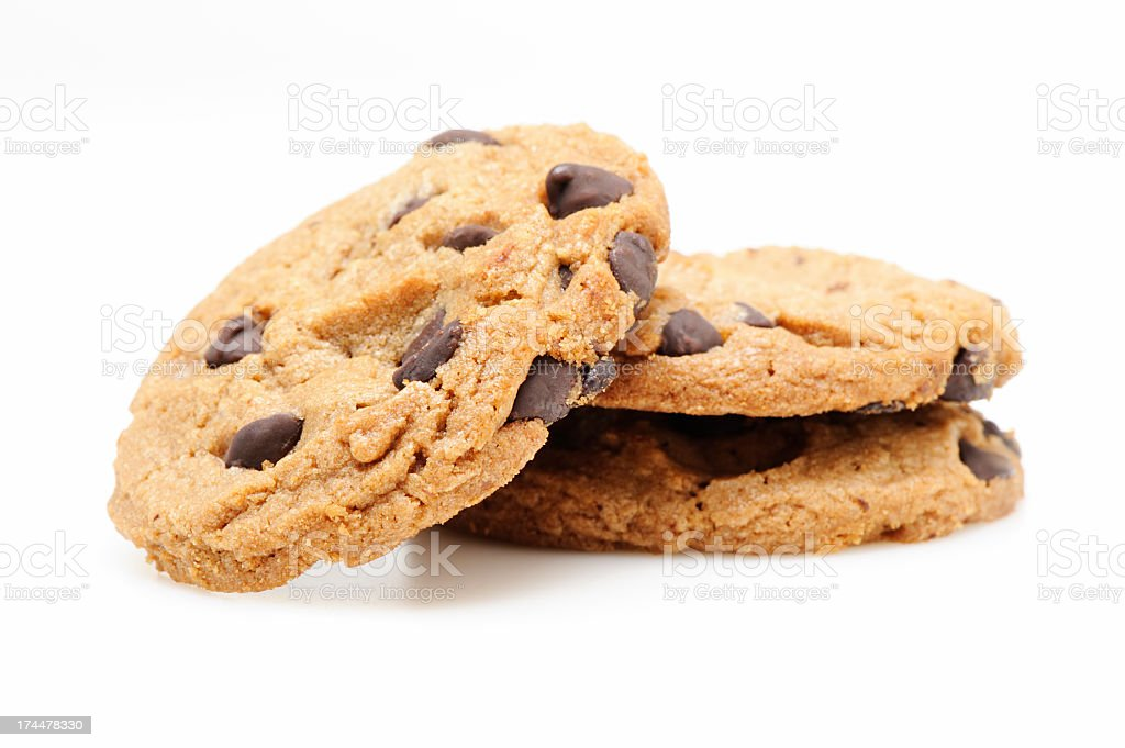Chocolate chip cookies on white royalty-free stock photo