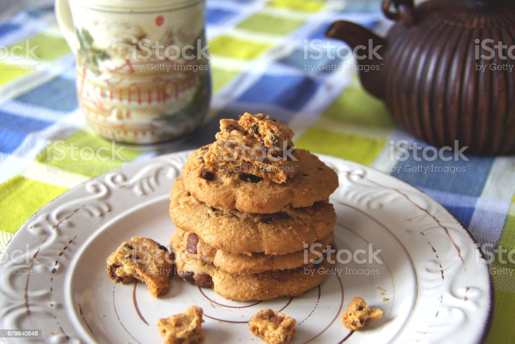 Chocolate chip cookies - foto stock