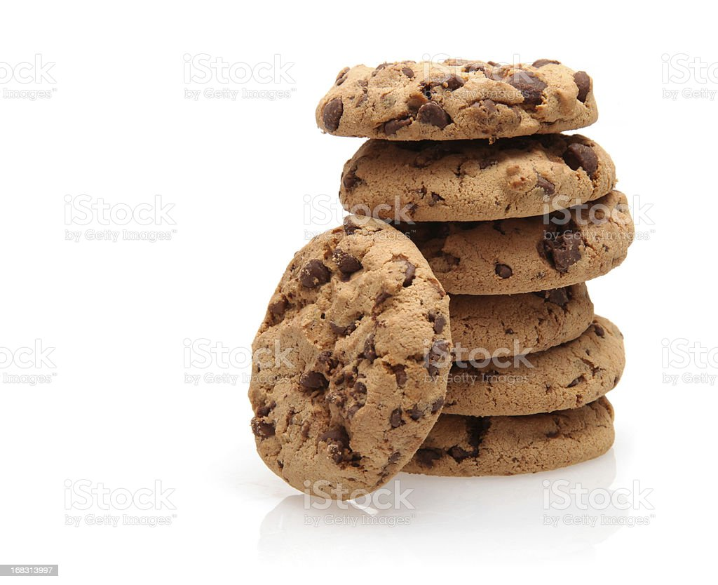 Chocolate Chip Cookies stack royalty-free stock photo