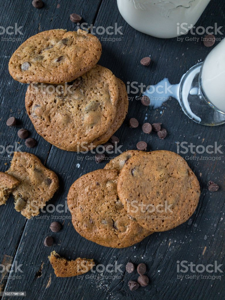 chocolate chip cookies with milk stock photo