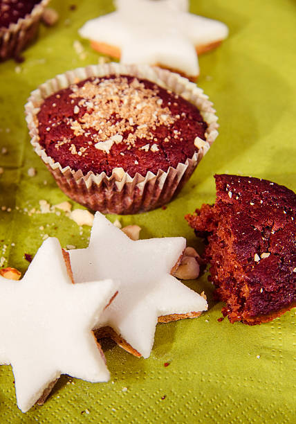 Chocolate Chip Muffin and star cookies stock photo