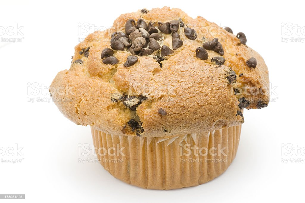 chocolate chip muffin on white royalty-free stock photo