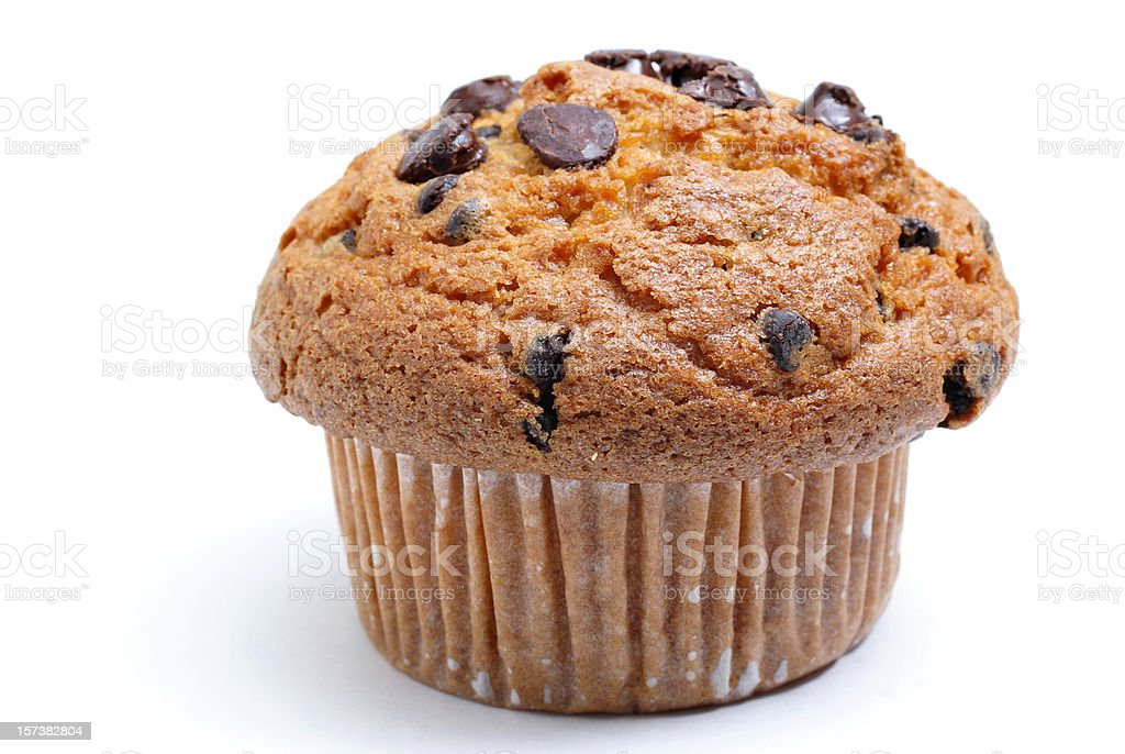 chocolate chip muffin stock photo
