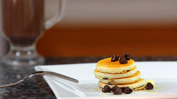 Chocolate chip pancakes. stock photo