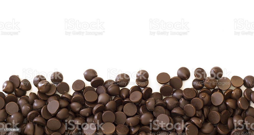 Chocolate Chips Cocoa Frame Border on White Background stock photo