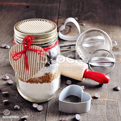 istock Chocolate chips cookie mix in a glass jar. 505469564