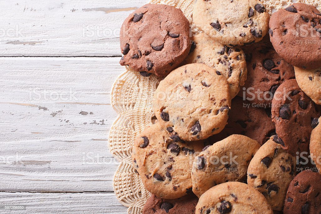 chocolate chips cookies on the table. horizontal top view royalty-free stock photo