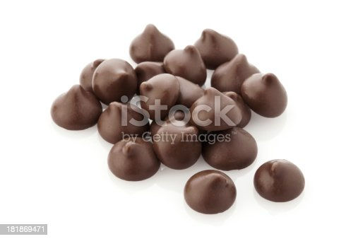 Chocolate Chips Stack Isolated on White Background