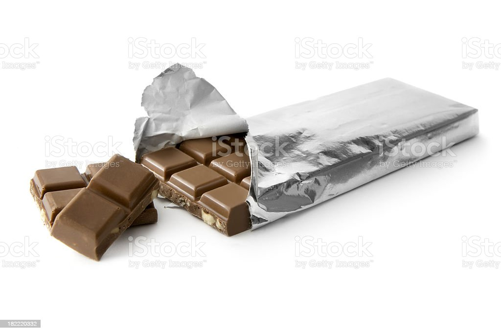 Chocolate: Barra de Chocolate en plata de lámina - foto de stock