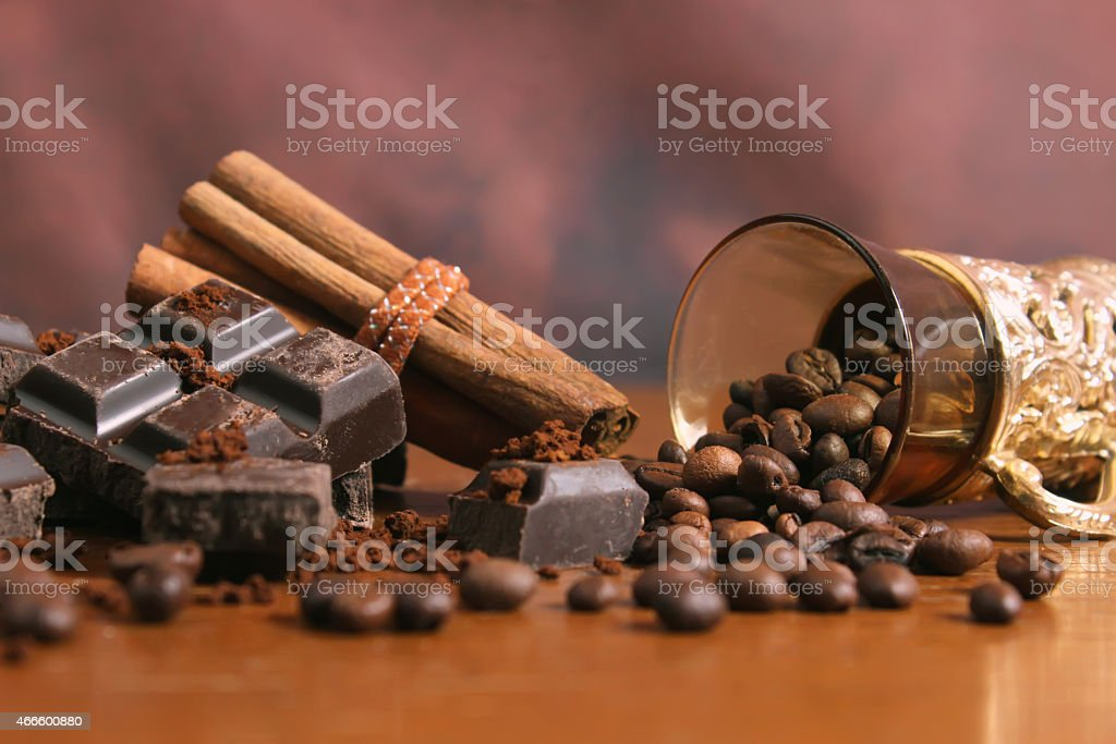 Chocolate, cinnamon and coffee beans stock photo