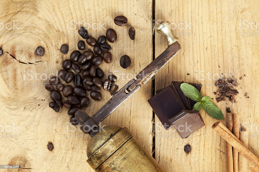 Chocolate, cinnamon and coffee stock photo
