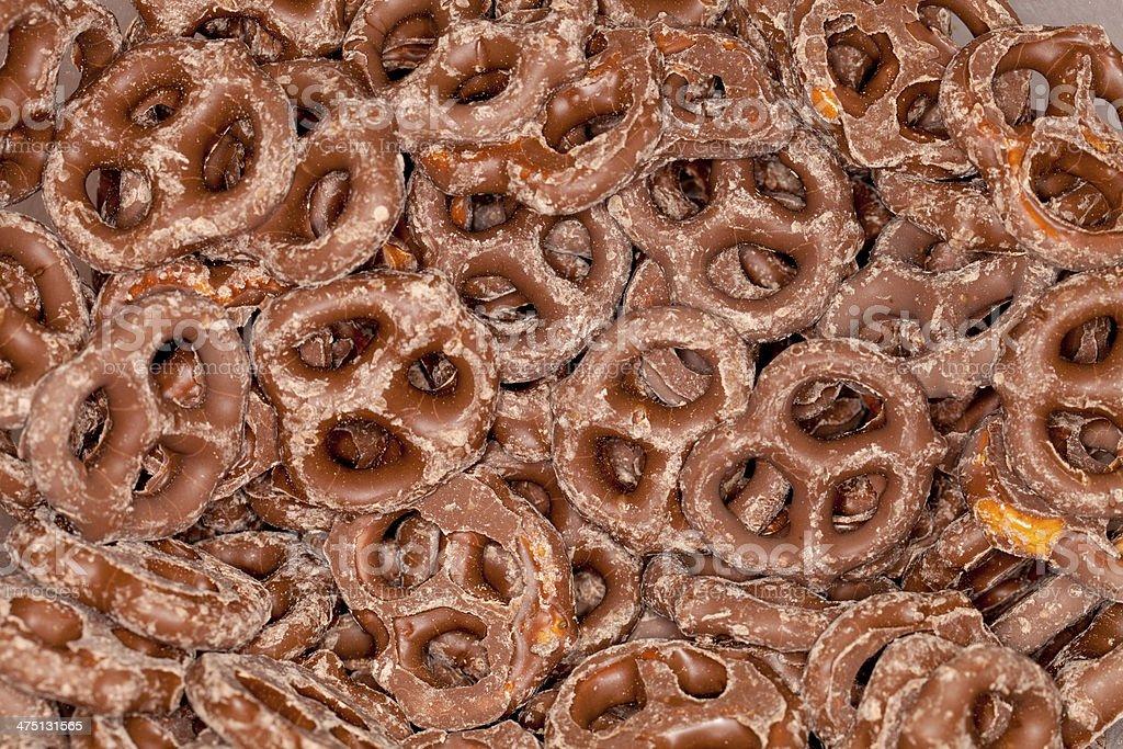 Chocolate Coated Pretzels stock photo
