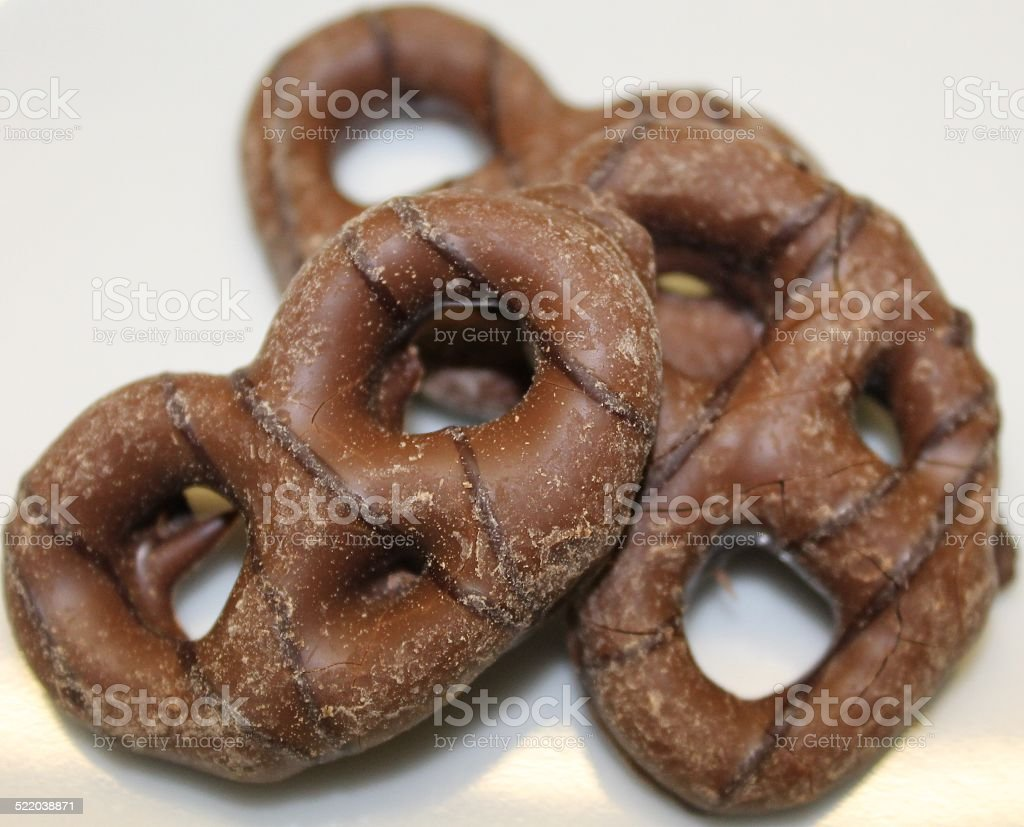 Chocolate coated Pretzels. stock photo