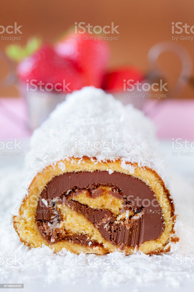 Chocolate Coconut Cake Roll stock photo