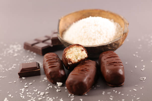 chocolate coconut candy stock photo