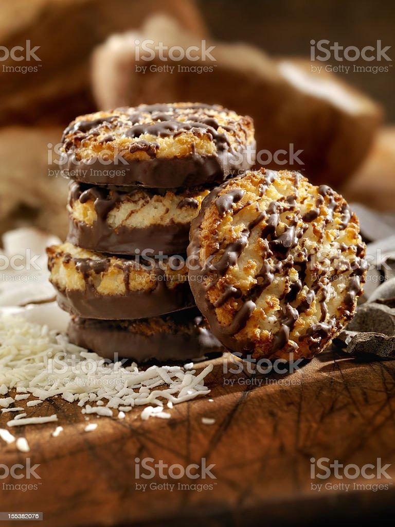 Chocolate Coconut Macaroons royalty-free stock photo