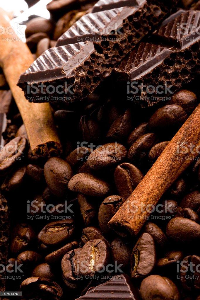 chocolate, coffee and cinnamon sticks royalty-free stock photo