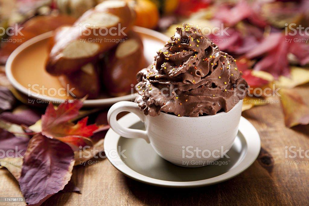 Chocolate coffee and pumpkin bread royalty-free stock photo