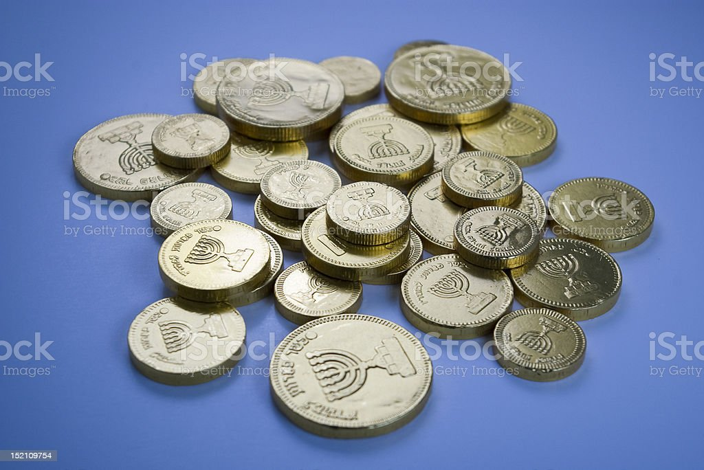 Chocolate Coins (Hanukkah). stock photo