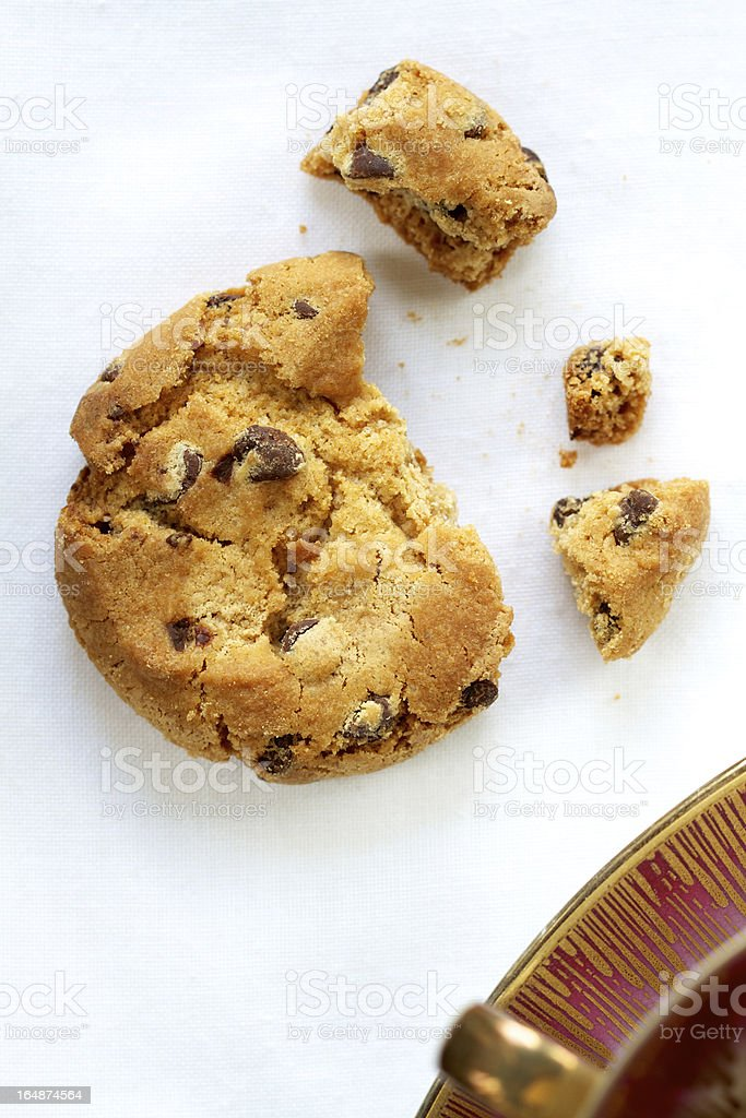 chocolate cookie on white tablecloth royalty-free stock photo