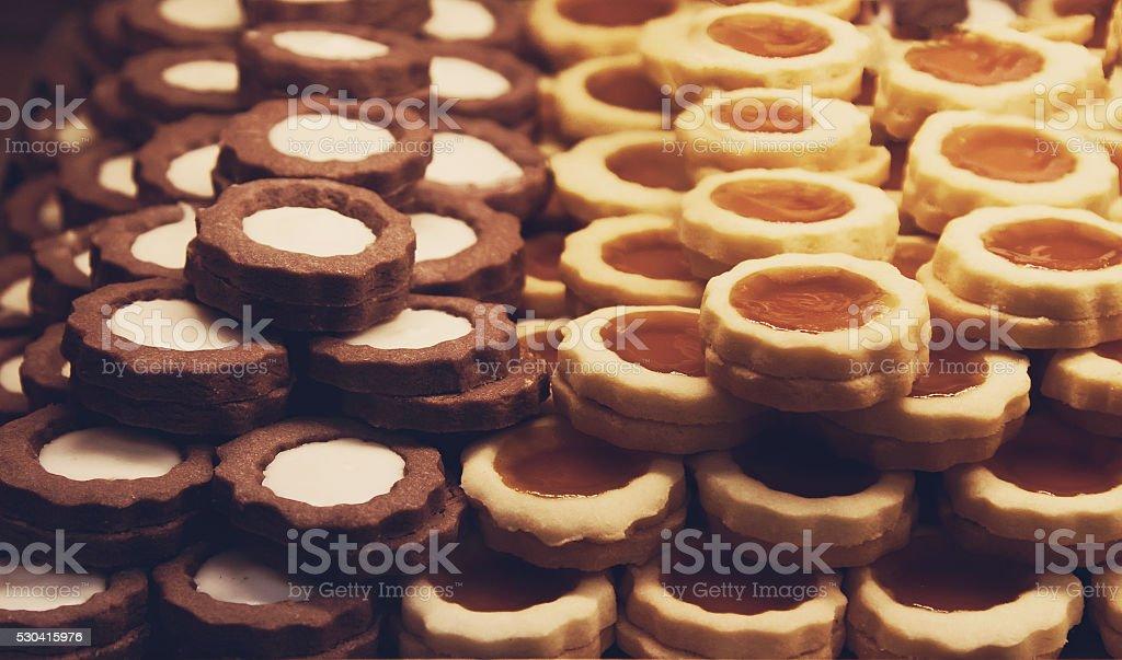 cookies de Chocolate e amêndoa de'cookies' - fotografia de stock