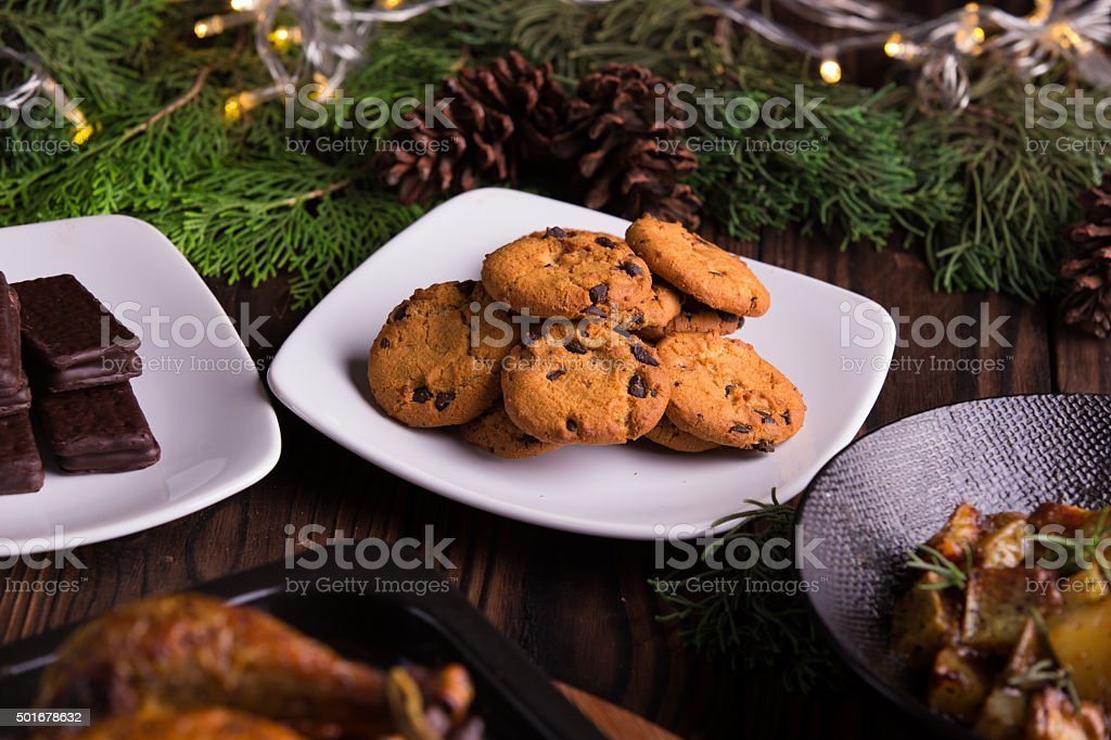 chocolate cookies and biscuits for holidays: christmas, thanksgiving stock photo