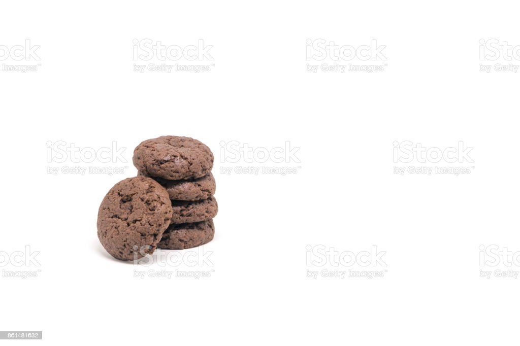 chocolate cookies and brownies isolated on white background stock photo