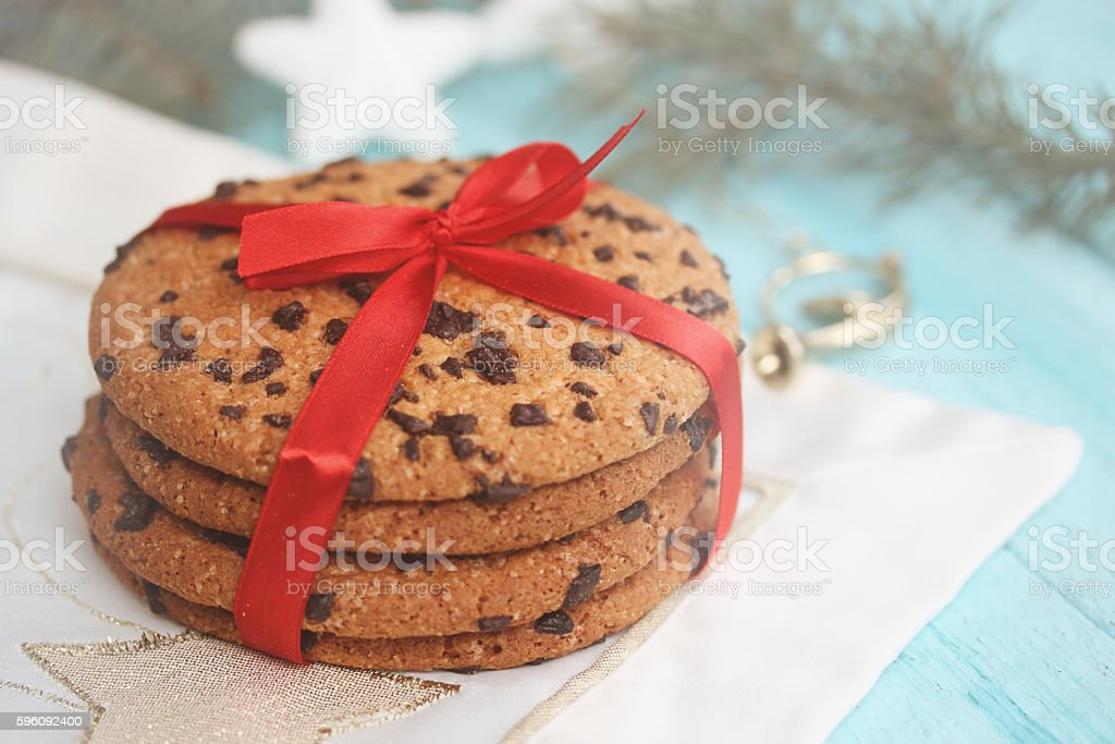 Chocolate cookies. Christmas background royalty-free stock photo