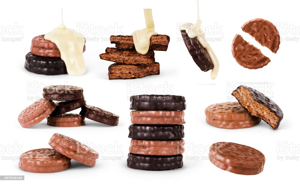 Chocolate cookies set isolated on the white background foto royalty-free