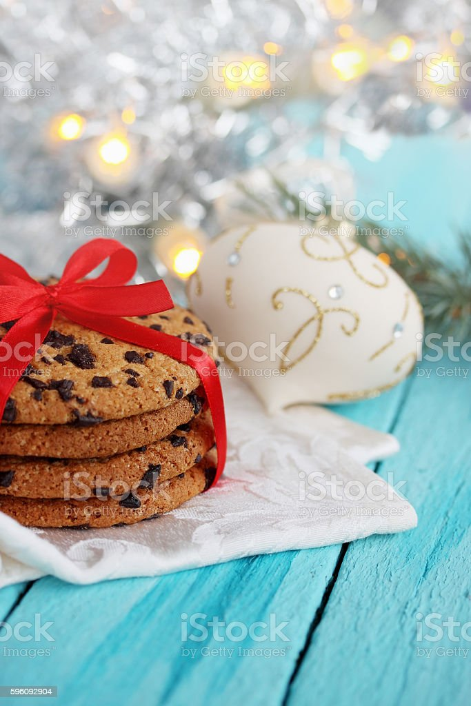 Chocolate cookies tied a red ribbon royalty-free stock photo