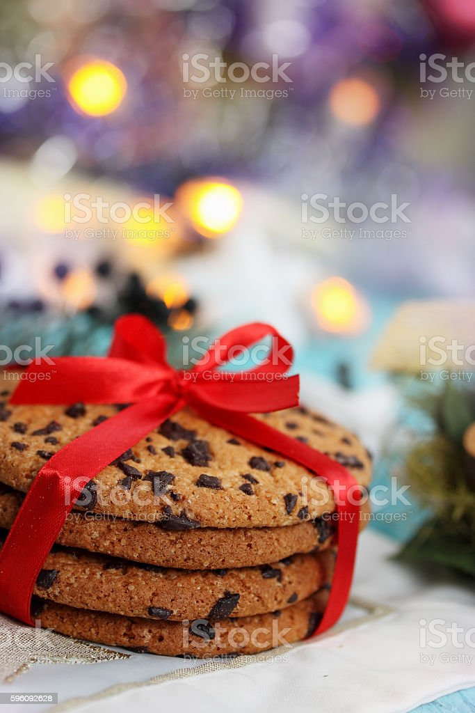 Chocolate cookies tied a ribbon royalty-free stock photo