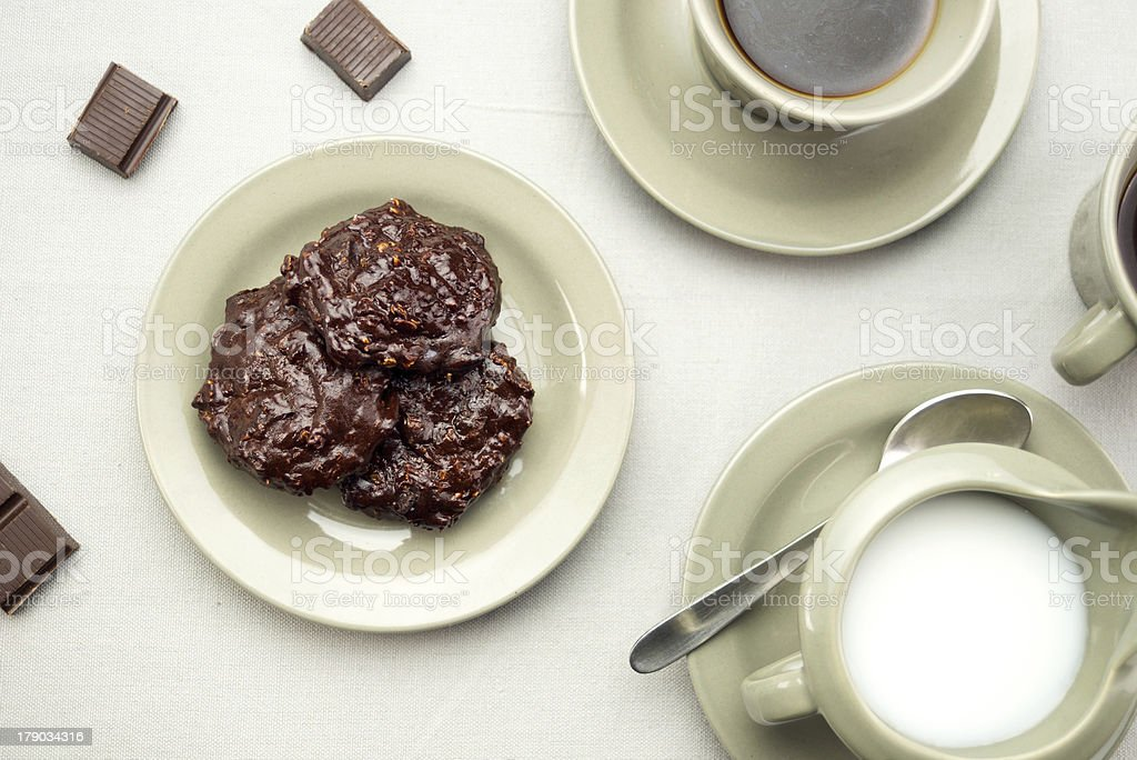 Chocolate cookies with coffee and milk royalty-free stock photo
