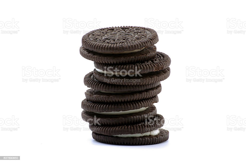 Chocolate cookies with cream filling isolated on white background. stock photo